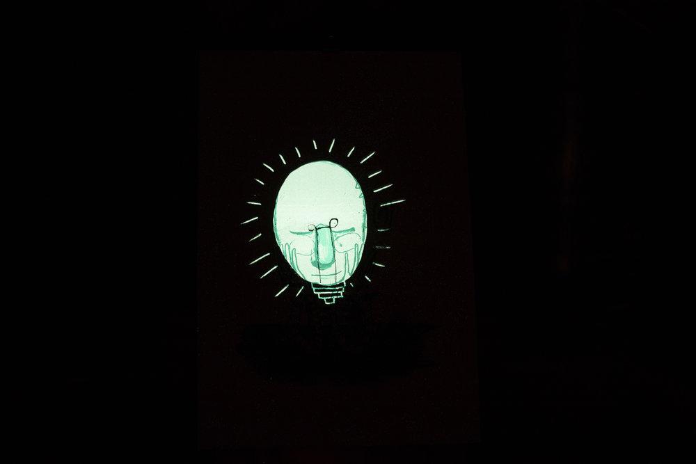 """""""Usett II"""", 2018, trefarget silketrykk. 55x37,5 cm. Avbildet i mørket med lang lukkertid."""