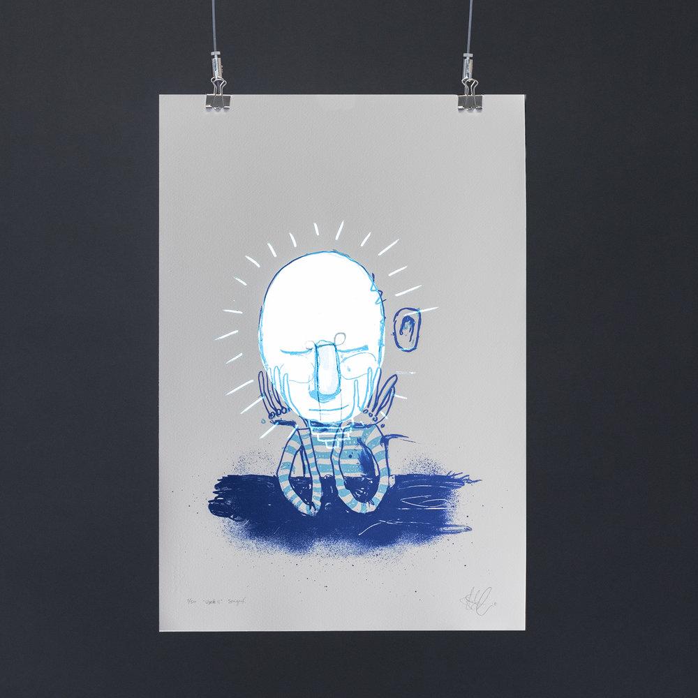 """""""Usett II"""", 2018, trefarget silketrykk. 55x37,5 cm. Avbildet i mørket med litt lysinnslipp."""
