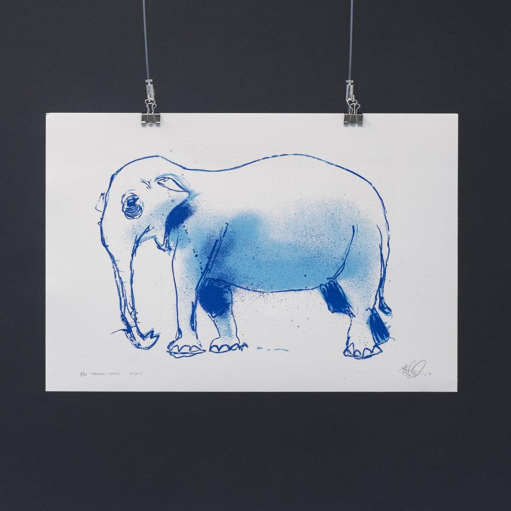 """""""Elefanten i rommet"""", 2018, trefarget silketrykk. 37,5x55 cm. Avbildet i lyset."""