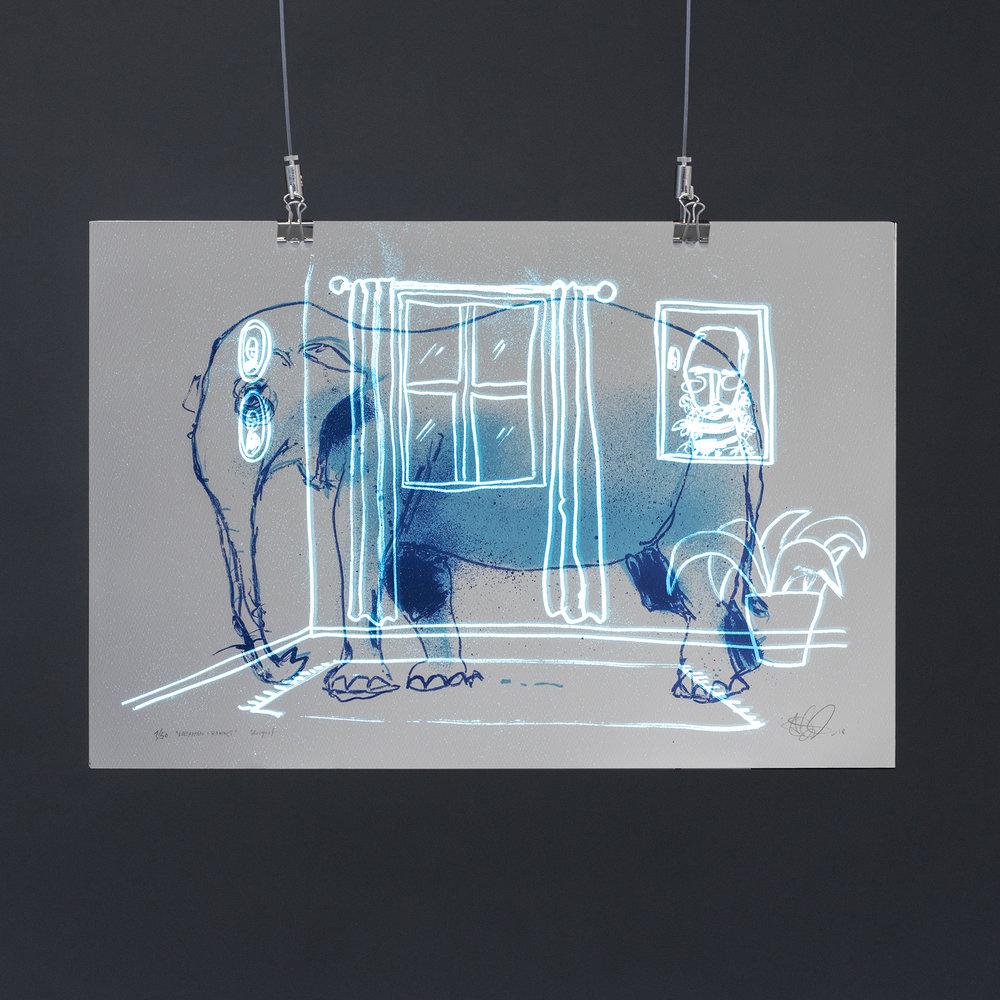 """""""Elefanten i rommet"""", 2018, trefarget silketrykk. 37,5x55 cm. Avbildet i mørket med litt lysinnslipp."""