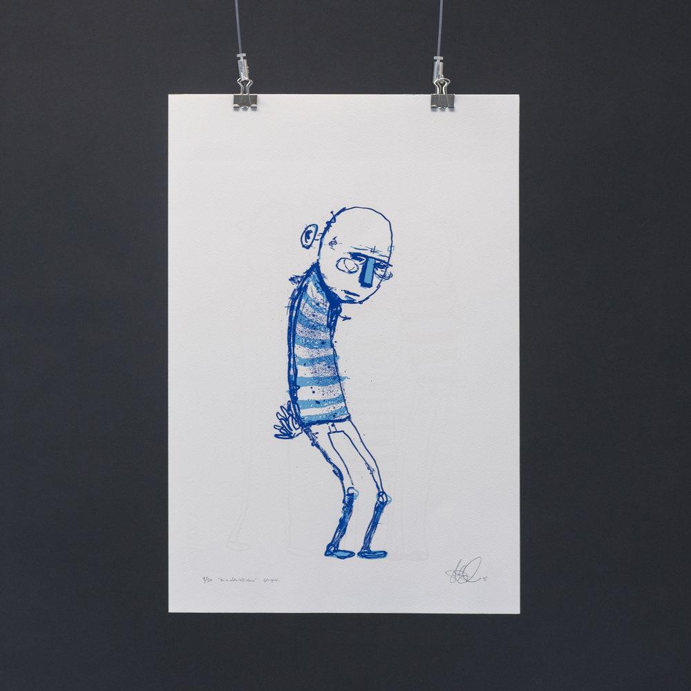 """""""Du er aldri helt alene"""", 2018, trefarget silketrykk. 55x37,5 cm. Avbildet i lyset."""
