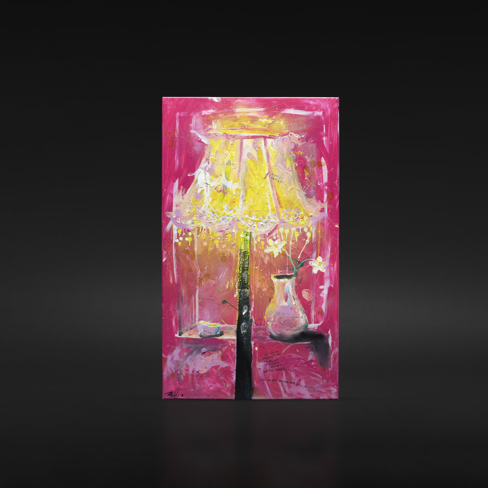 """Det er bare en lampe, sa de voksne"", 2018, 70 x 120 cm, blandingsteknikk på linlerret. 🔴SOLGT"