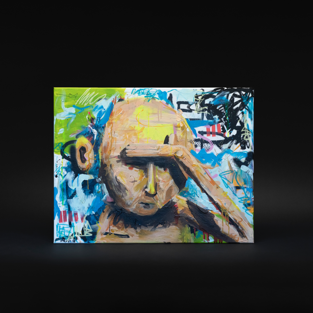 """""""For mye av det gode"""", 2018, 90 x 70 cm, blandingsteknikk på linlerret 🔴SOLGT"""