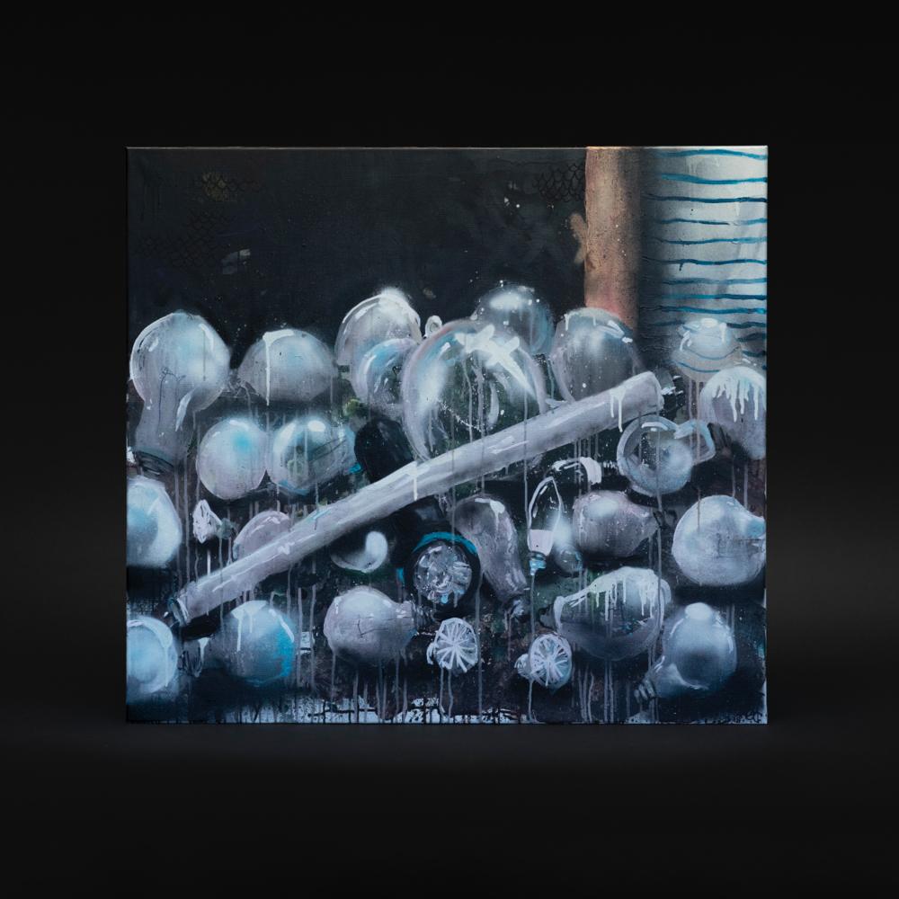 """Stilleben med pærer"", 2018, 100 x 90 cm, blandingsteknikk på linlerret. 🔴SOLGT"