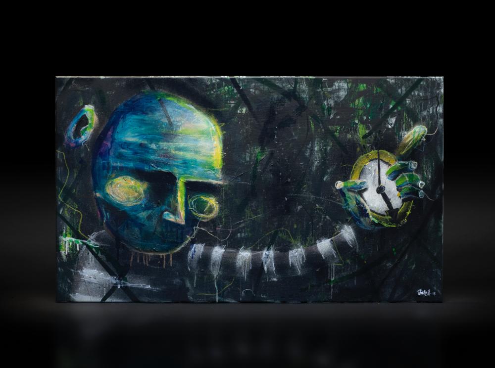"""""""Innetid"""", 2018, 120 x 70 cm, blandingsteknikk på linlerret. 🔴SOLGT"""