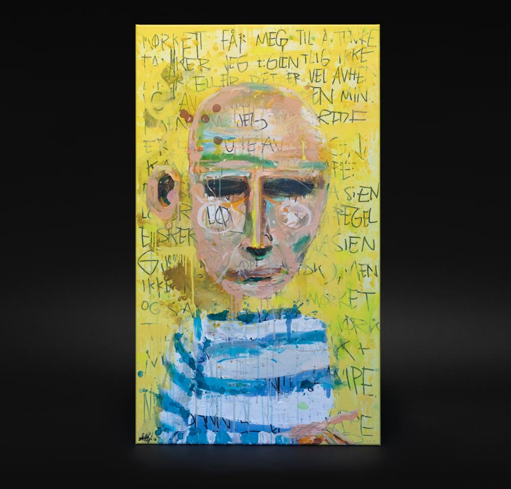 """""""Portrett av en tankerekke"""", 2018, 70 x 120 cm, blandingsteknikk på linlerret."""