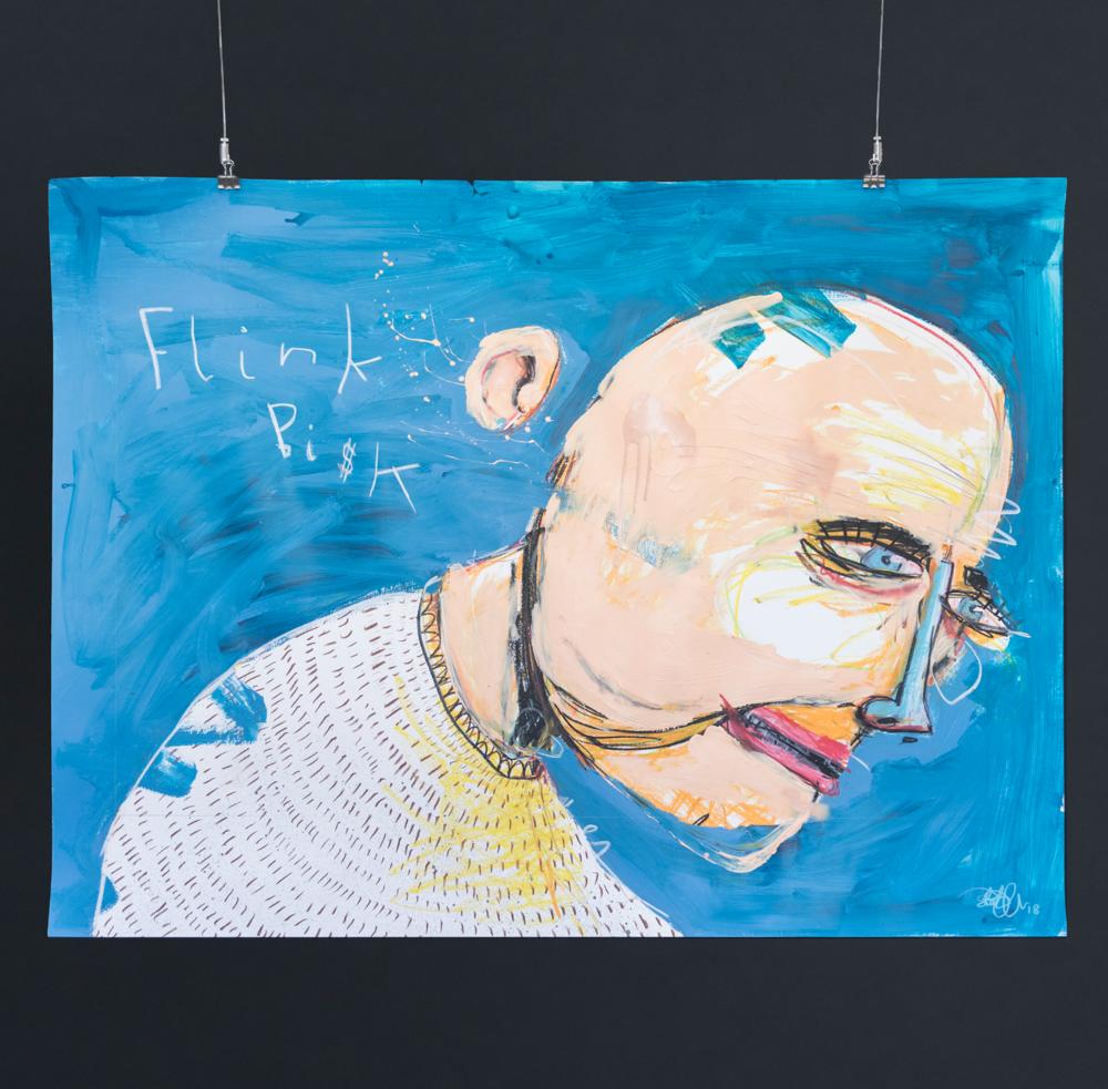 """Flink bisk"", 2018, 120 x 90 cm, blandingsteknikk på papir. 🔴SOLGT"