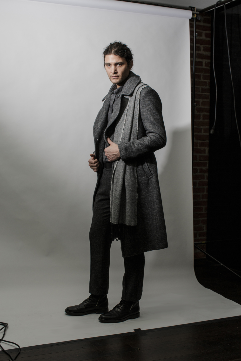 Double Breasted Top Coat in Grey Melange, Devon Herringbone Scarf