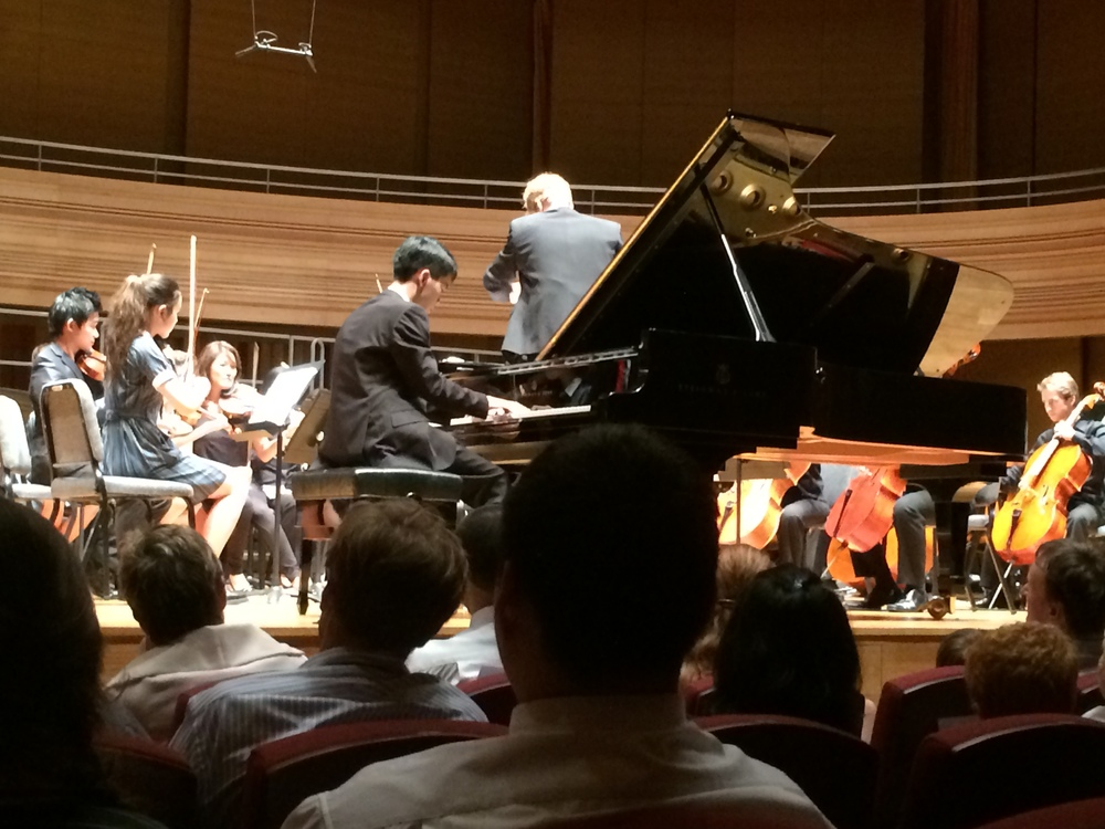 "Isaac Tan performing Beethoven's ""Emperor"" Concerto with the Australian International School Orchestra on June 4, 2014 at the Yong Siew Toh Conservatory Hall, Singapore."