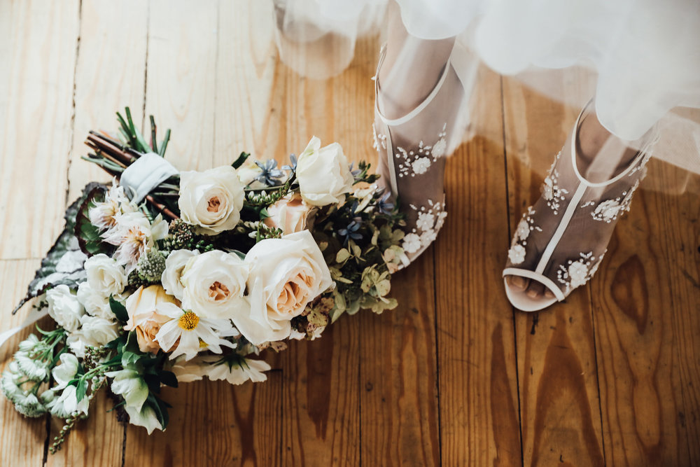 Photo by Rachel Photographs | Dress + Shoes by Chantilly Couture Bridal | Flowers by The Wild Mother | Venue: Holloway House | Model: Emily Morton