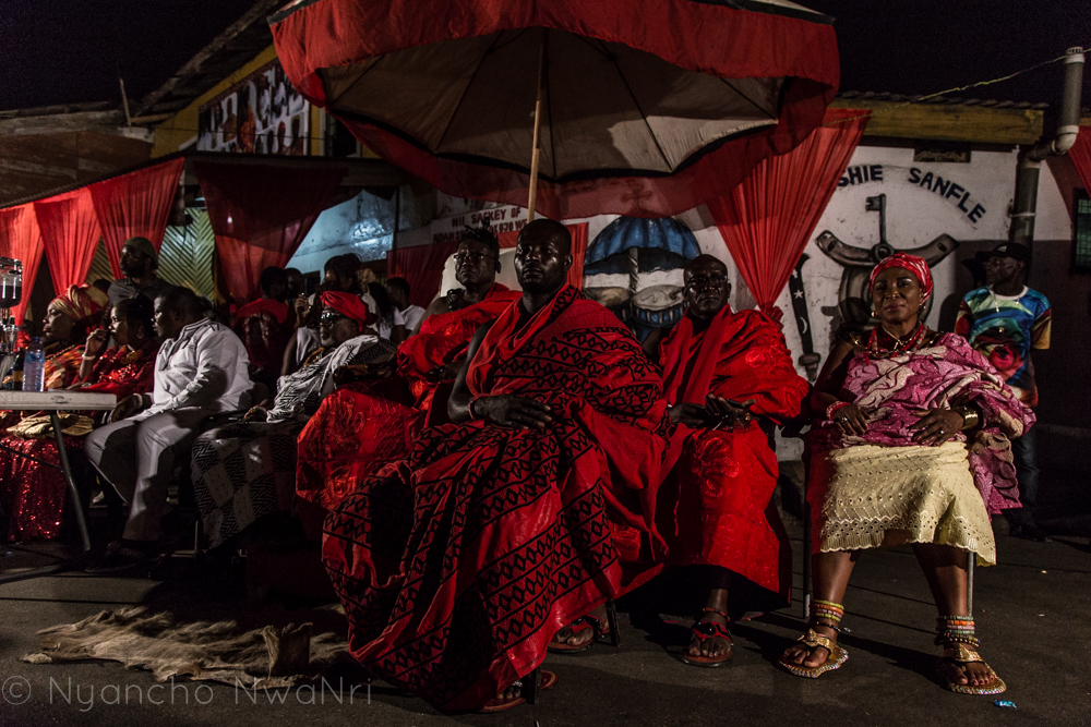 Jamestown Royalty, Accra. 2018 - The Chief of Jamestown and his entourage at the 2017 Homowo Festivel in Jamestown, Accra, Ghana.