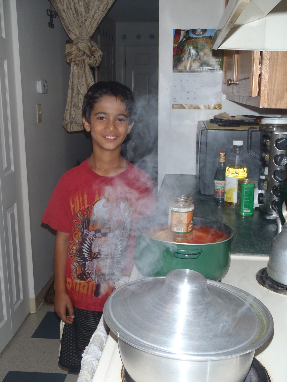 This is Omar, my ten-year-old translator. He was very proud of his mother's cooking.