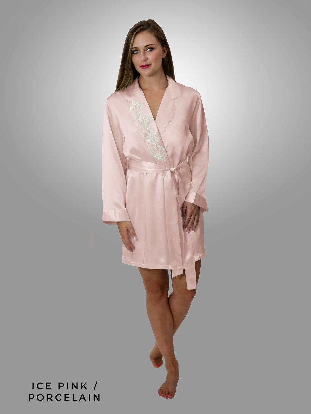 fdceeb143b7 DESIREE Short Robe — Linda Hartman Intimates