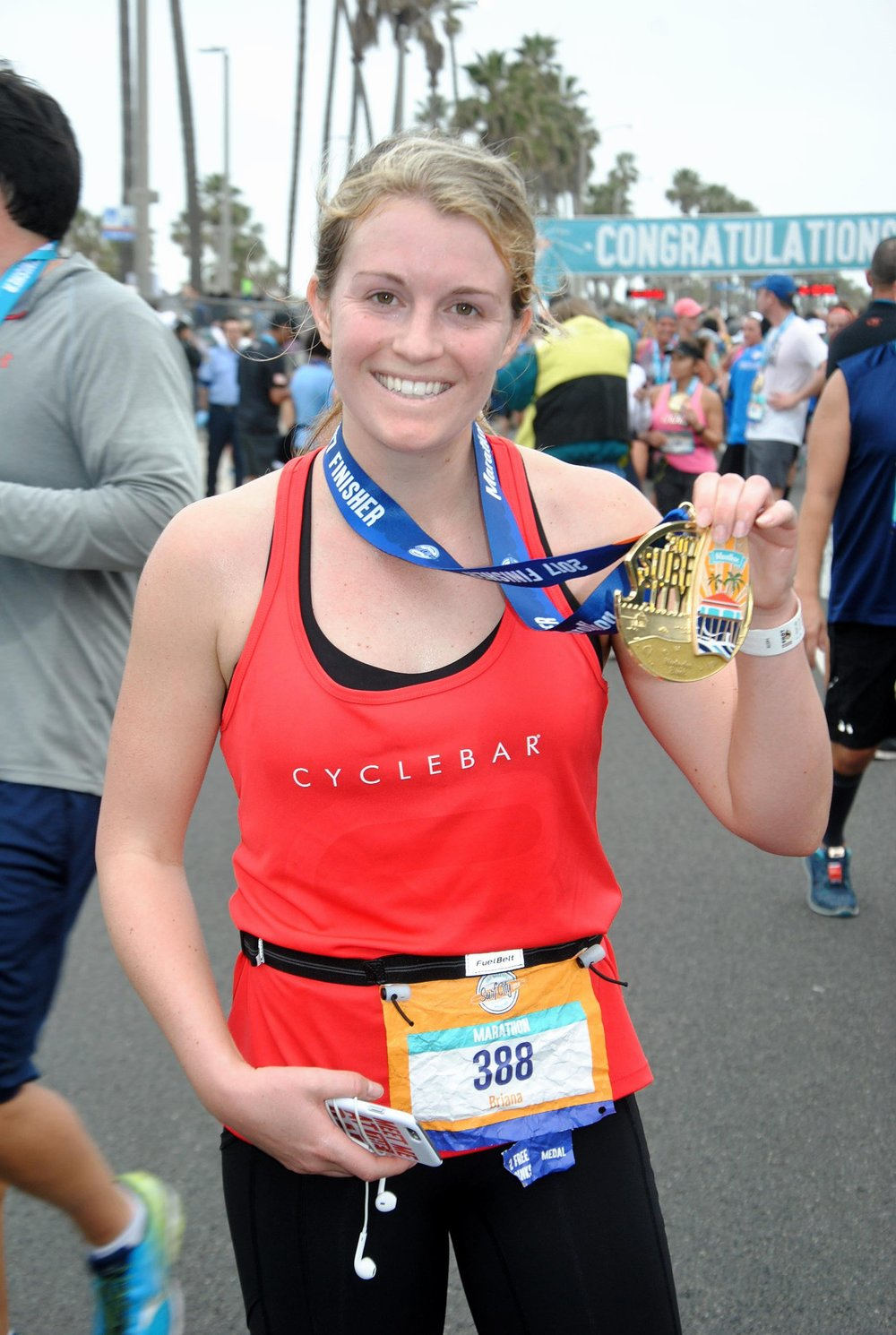 Me, literally dead at the end of the Surf City Marathon.