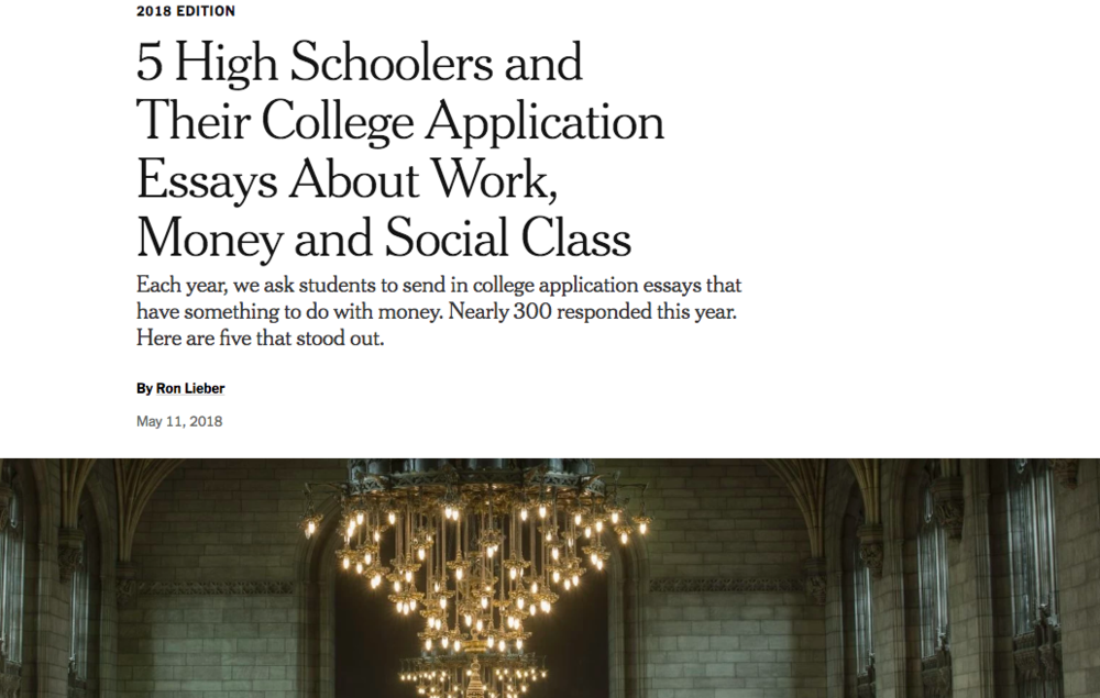 NY Times - Selected Colleges, 2018 Edition