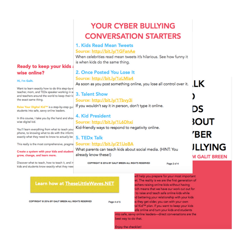 To teach kids about cyber bullying you need a good starting point that will teach them what they need to know without scaring them away from the conversation. Try one of these five proven conversation starters. Print out the checklist for easy reference!