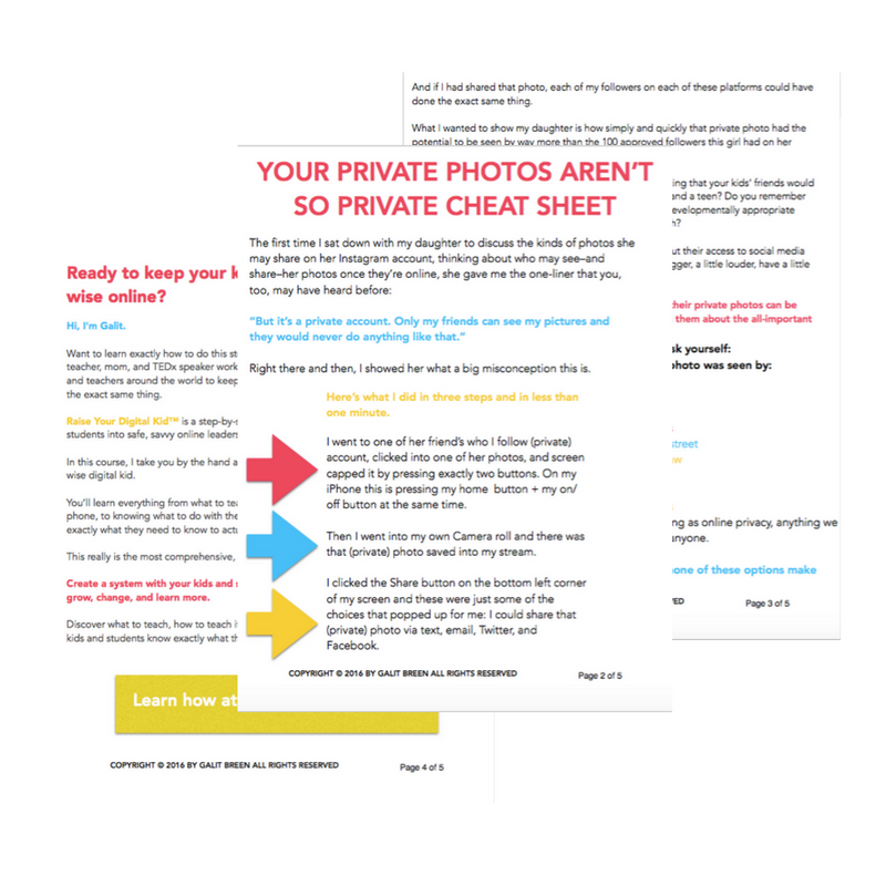 It is a face that private photos online doesn't necessarily mean what it sounds like. Learn how privacy settings  aren't the only, or even the best, way to keep kids safe online and to keep private photos private. Print out the free cheatsheet so that you can teach your kids and students this important info like a boss!