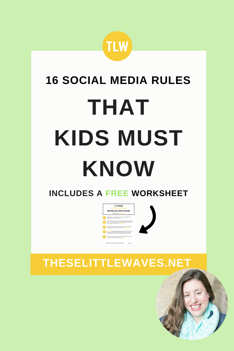 There are certain social media rules that kids need and these 16 are absolutely them. Take a look at each rule before you let your kids post anything else online. Then, print out the free copy of this list and share it with your kids. They really do need to know these.