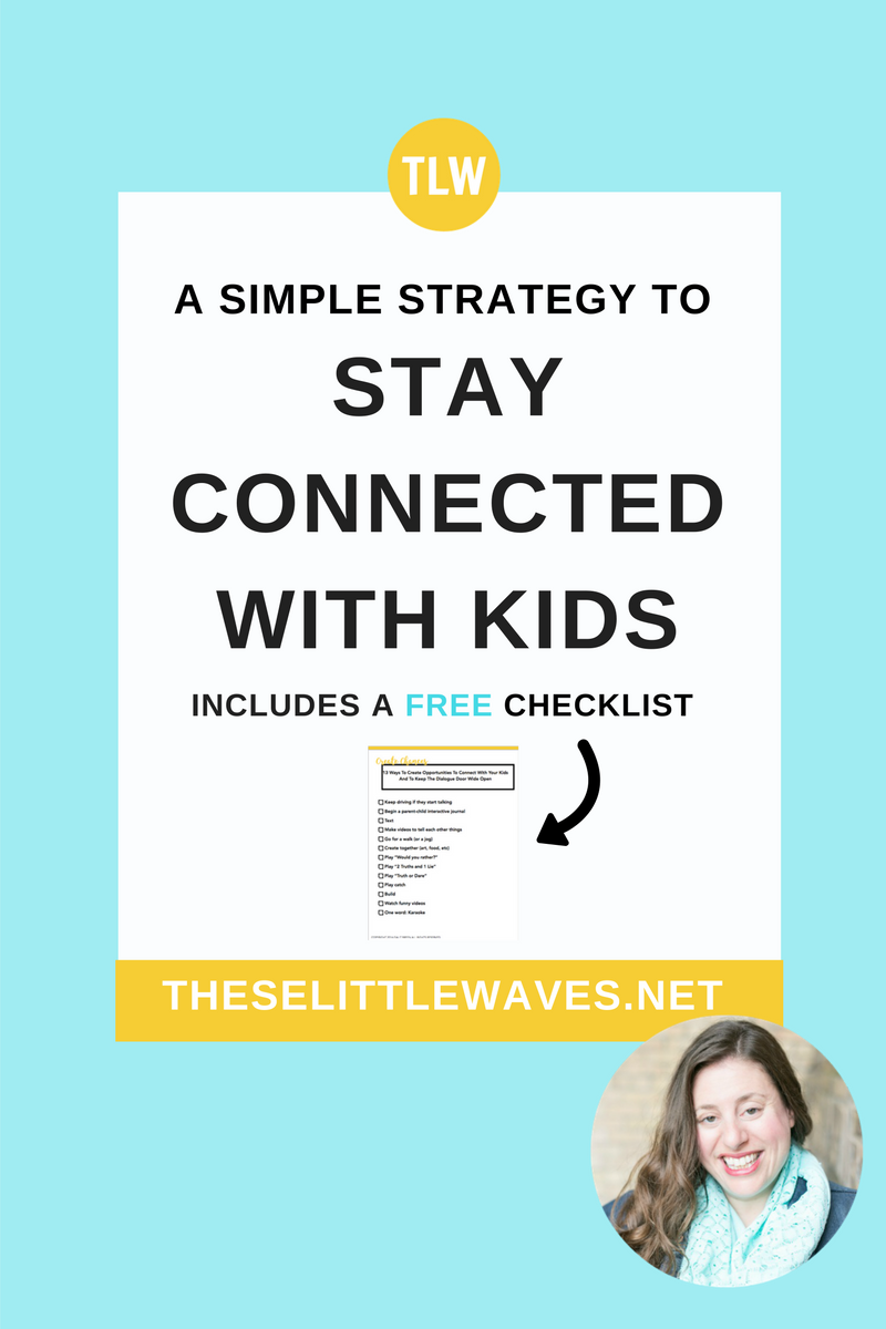 It is so important to find ways to connect with kids. Especially as kids get older and families get busier, it's so good to use a reliable system for this! Make sure to download the free resource attached here—it's a connecting checklist and a short list for more reading about this. So helpful!