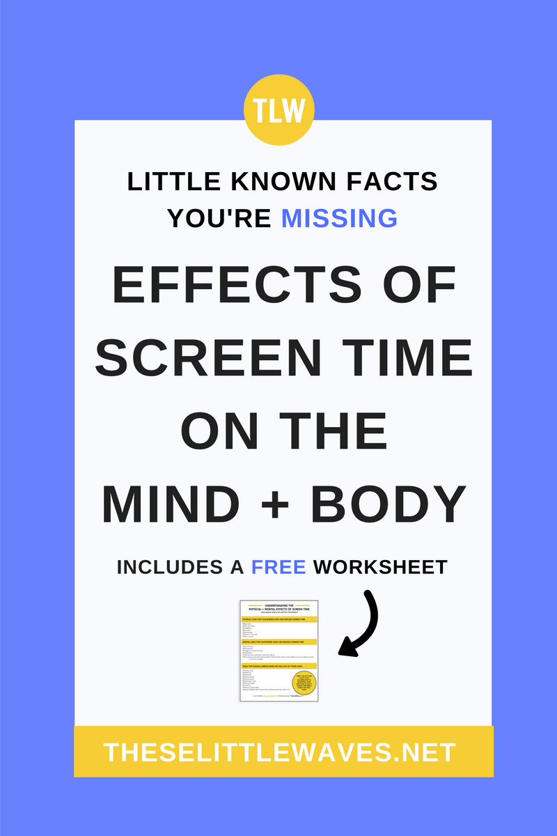 The effects of screen time on brain and eye development have been questioned for a while now. It is so easy to get caught up in this! The real truth is that there are real affects of screen time on our bodies. The other truth is that screen time isn't going anywhere! So what we need to do is learn what these affects are, learn to recognize them in our bodies, and take a break from screens when we feel them. This article is a practical look at how to do this AND how to teach it to our children. Click through to read the entire article and to print out the free checklist to use to teach your kids how to recognize the side affects of screen time and what to do about them!