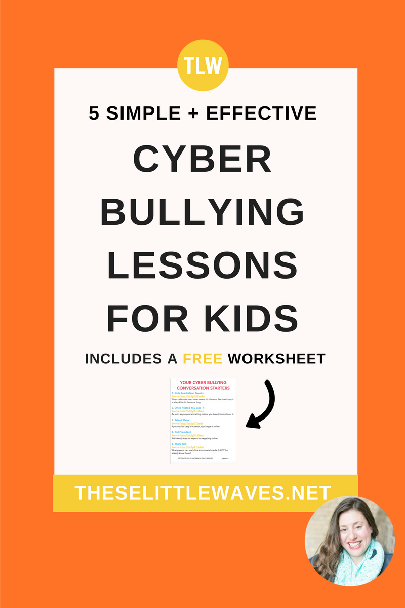 Cyber bullying lessons for kids // Now more than ever, we need to teach kids about cyber bullying. We need to open the right conversations with our kids so they know they can talk to us if they need help and so they know how to help someone else. These 5 conversations starters are great resources to make this topic easier to broach and to have a framework for what to discuss with our kids. This is an important topic and these lesson plan starters are really helpful!