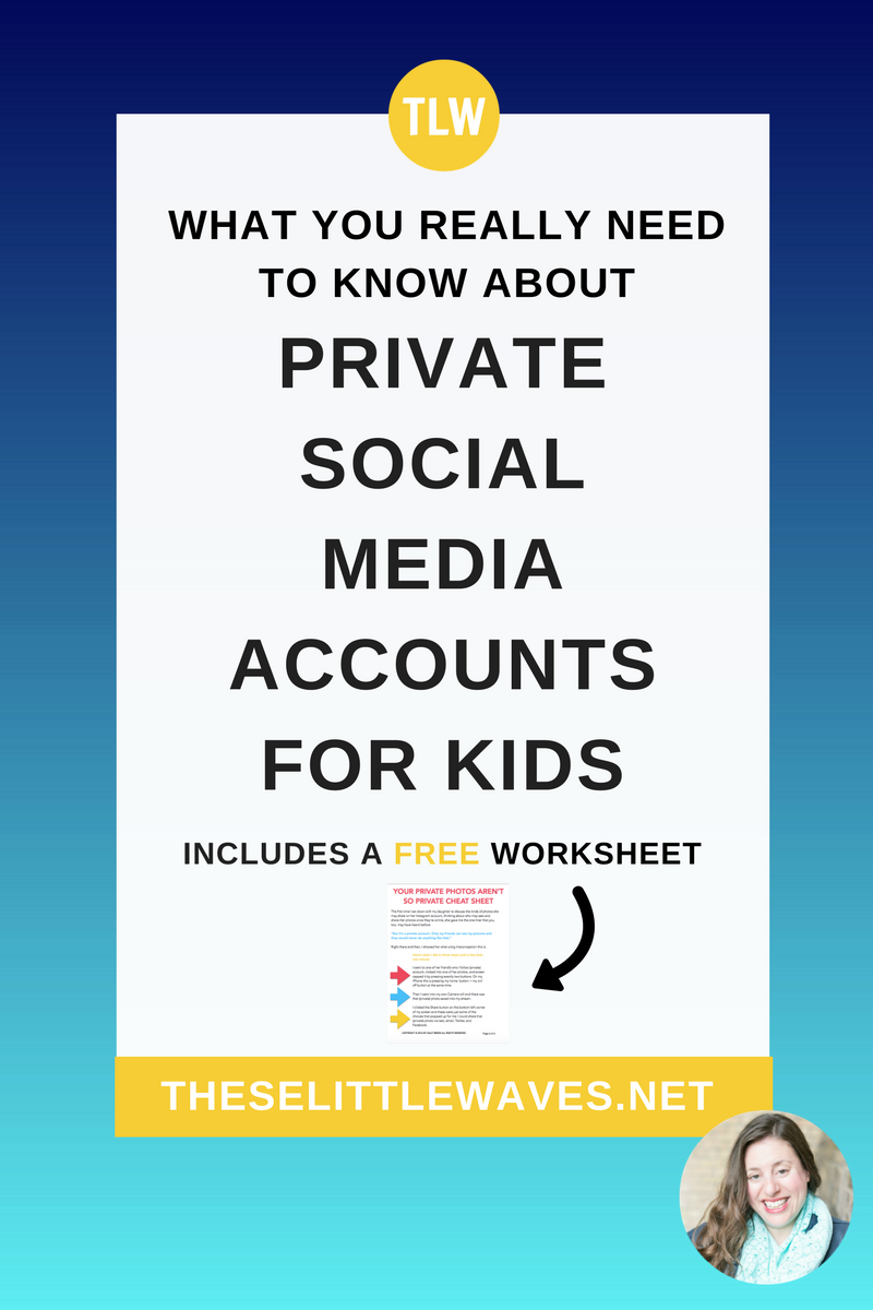 Private social media accounts for kids // Many parents and teachers want to teach their kids and students the right answer to are photos really private online, but it can be hard to know how much to tell them and how to teach them these important facts! This is a detailed cheat sheet and script, a lesson plan, for how to teach kids that private on the internet isn't really all that private. This is so important!