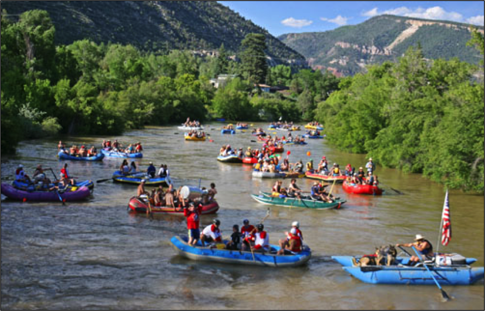 Rafting the Animas River in Downtown Durango During the Animas River Days Festival
