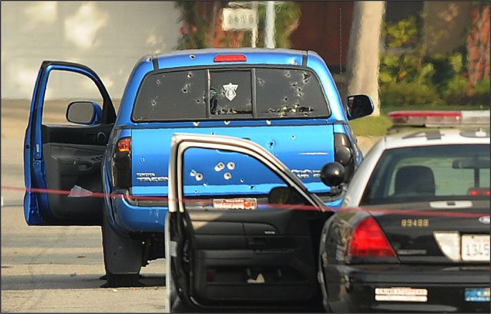 In a sickening display of incompetence and unprovoked aggression, police shot this truck 102 times during the Dorner manhunt. They were seeking a suspect driving a black Nissan Titan, but the victims were in a blue Toyota Tacoma. The fugitive was a large, muscular black man with a shaved head, but the victims were two Hispanic women, one of them 71-years-old. The 102 rounds that hit the truck don't include the many stray shots that missed the vehicle, but instead peppered the residential neighborhood.