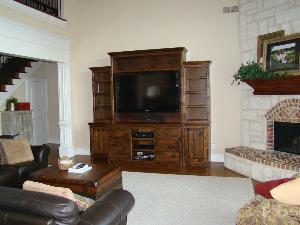 2 Tier Alder Open Display Media Center with Storage