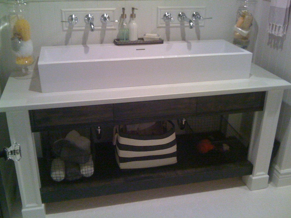 Open Base Bath Vanity (After), Painted and Stained with Trough Sink