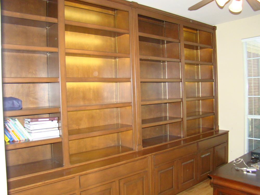 Stained Maple Bookcase with Pilasters and LED Lights on a Traditional Credenza