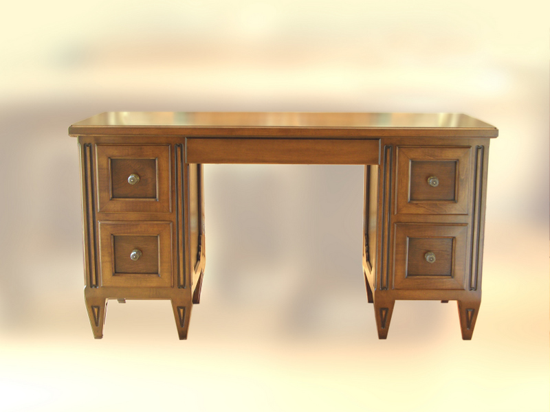 Carved Pedestal Walnut Desk with Flat Panel Drawer Faces