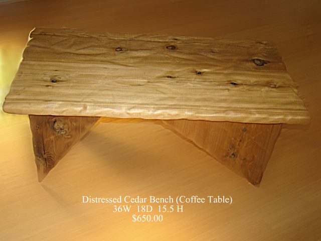 Distressed Cedar Bench/Coffee Table