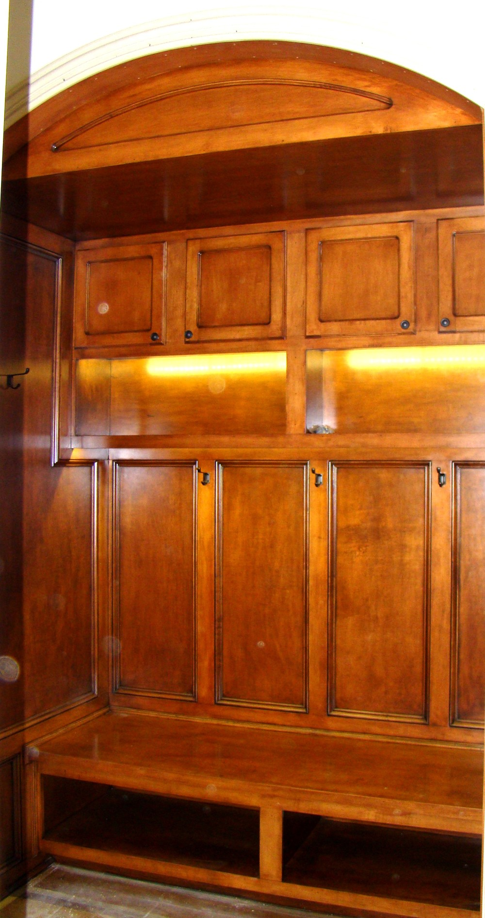 Mud Room Paneled Seat with Storage, Lights and Hooks