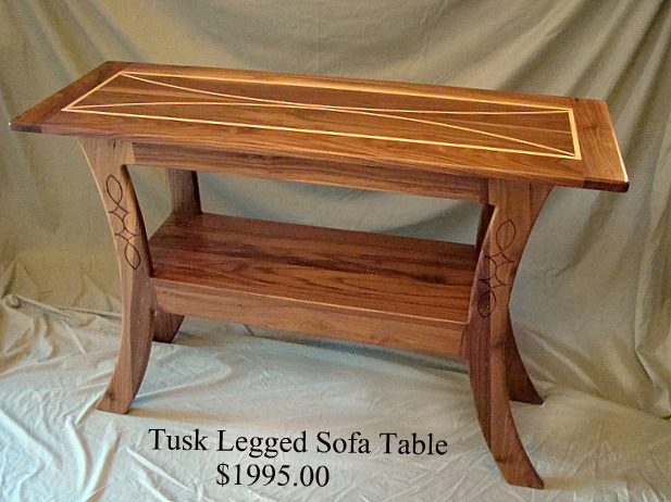 Inlaid Tusk Legged Sofa Table