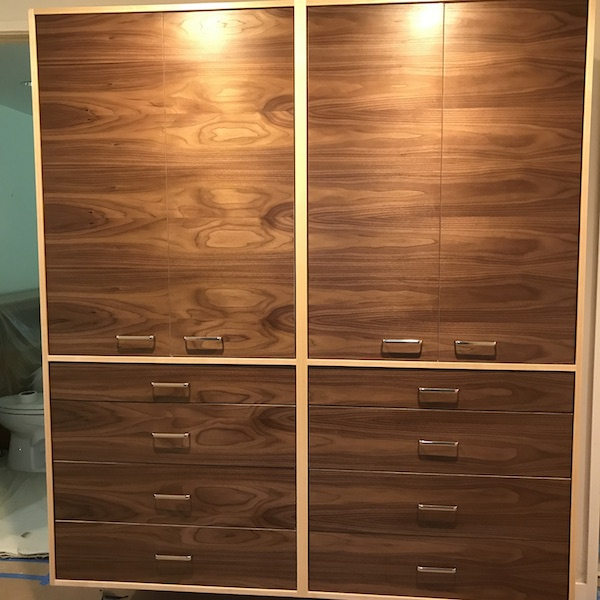 Floating Maple Framed Walnut Linen Cabinet