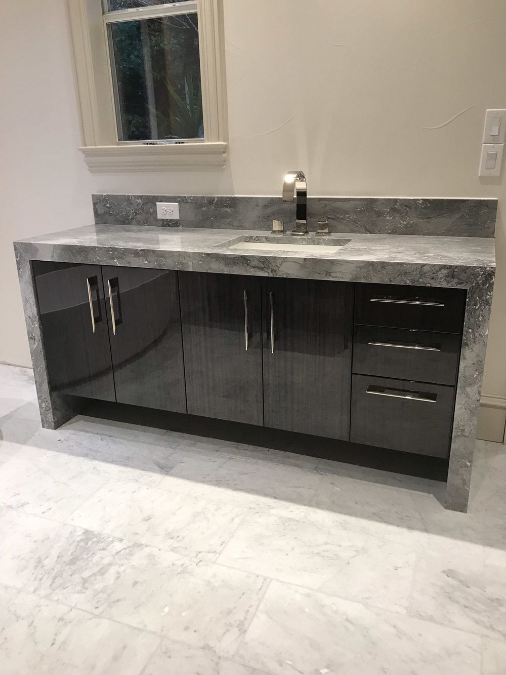 Contemporary Vanity with Water Fall Counter