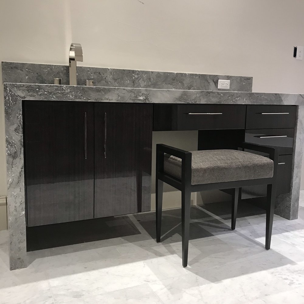 Contemporary Vanity with Water Fall Counter and Seating