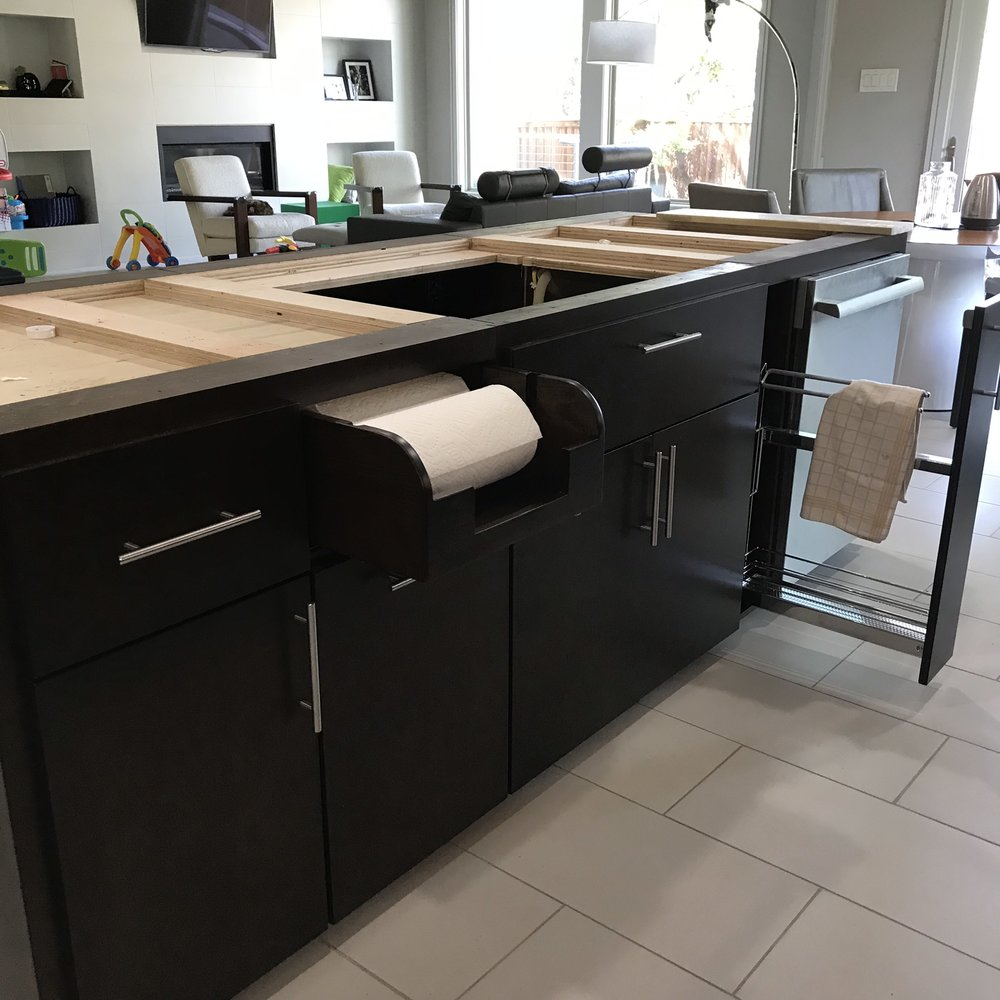 Contemporary Kitchen Island with Pull out Towel Rack
