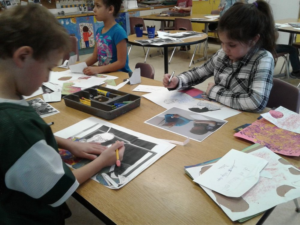 Students make collages in art class inspired by interviews with their 'special friends'