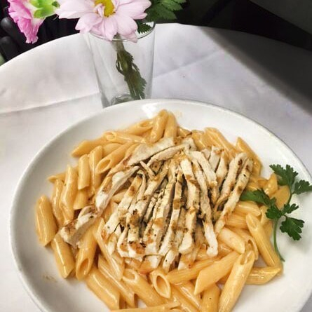 Pasta and grilled chicken...simply delicious!