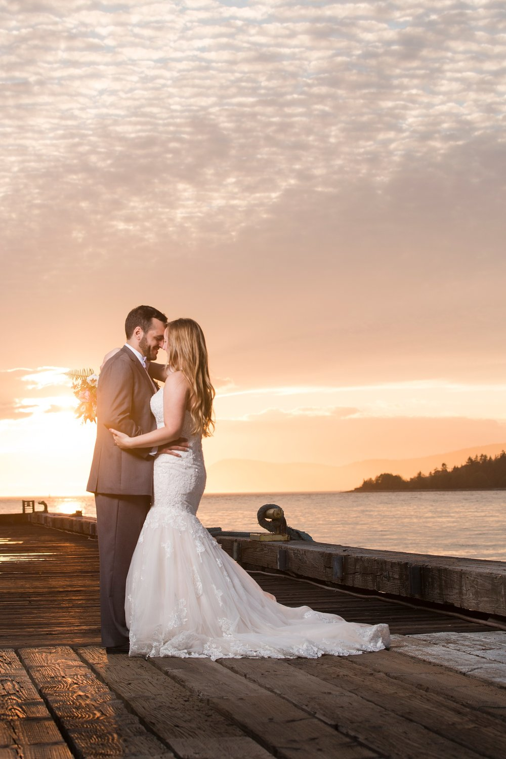 Bride and Groom in front of a beautiful sunset