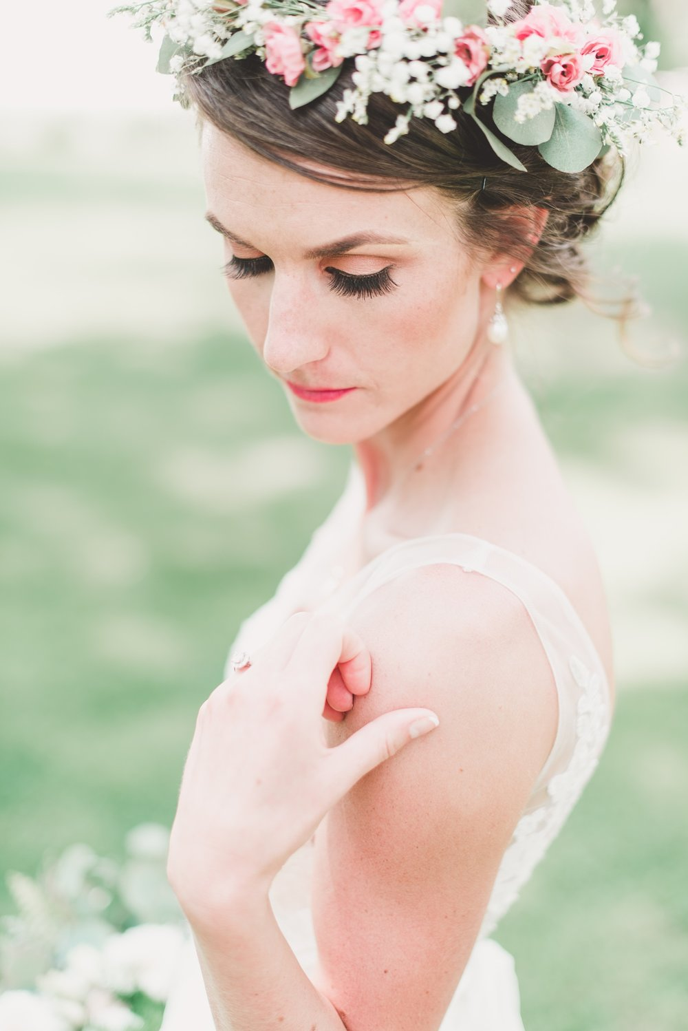 light and airy photo of a bride in a flower crown
