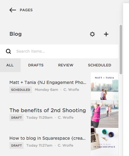 How do i create a blog post in Squarespace?