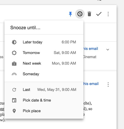 snooze in Inbox by Gmail
