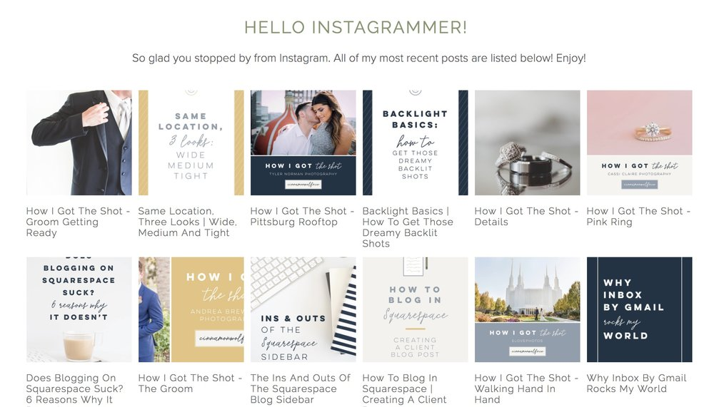 Instagram landing page on Squarespace