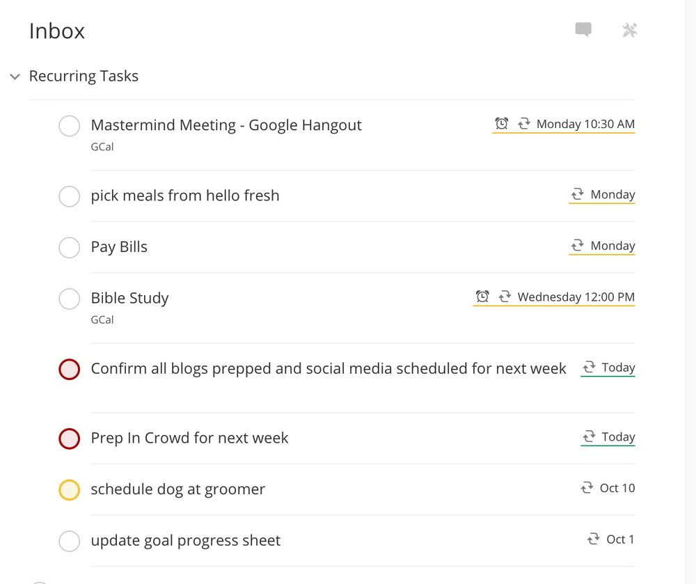 using reoccurring tasks in todoist
