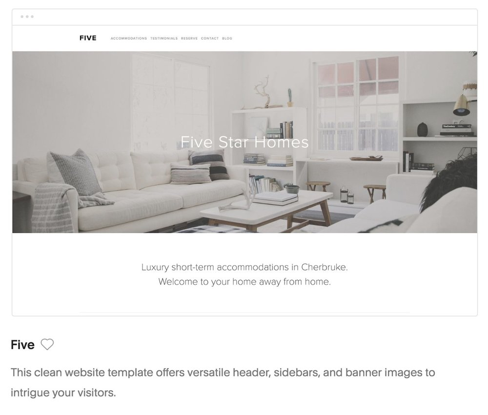 Five template in Squarespace for photographers