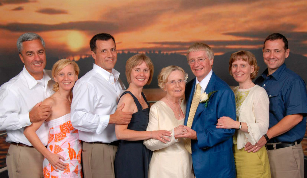 Mr. and Mrs. Dunn with the six pillars of Legacy