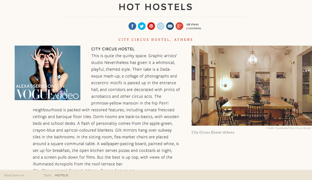 City Circus Hostel in   Conde Nast Traveller    01/2014
